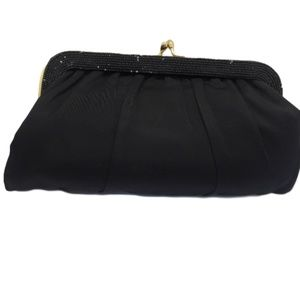 Vintage Parcy Black Satiny Evening Bag with Beads